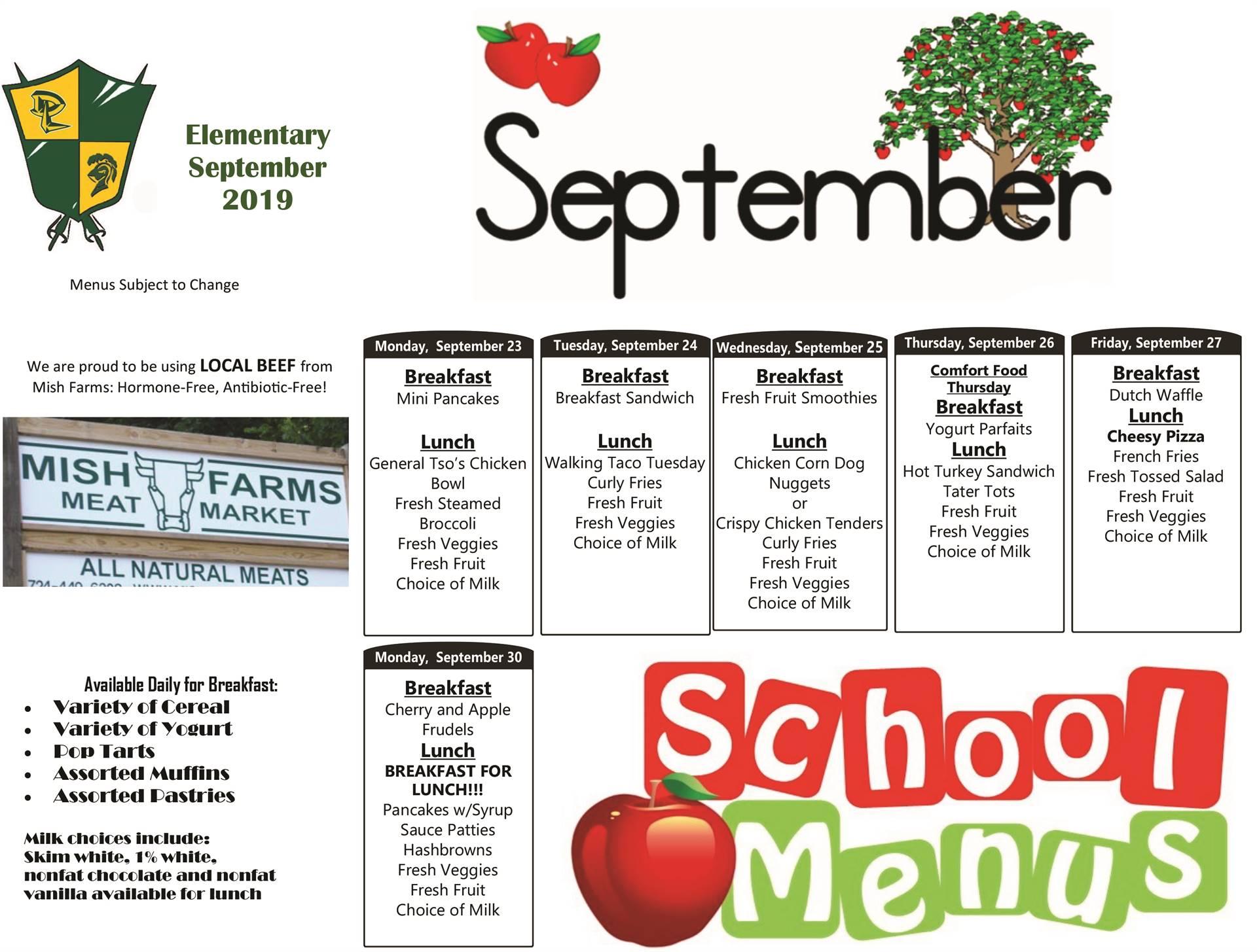 Lunch Menus - September